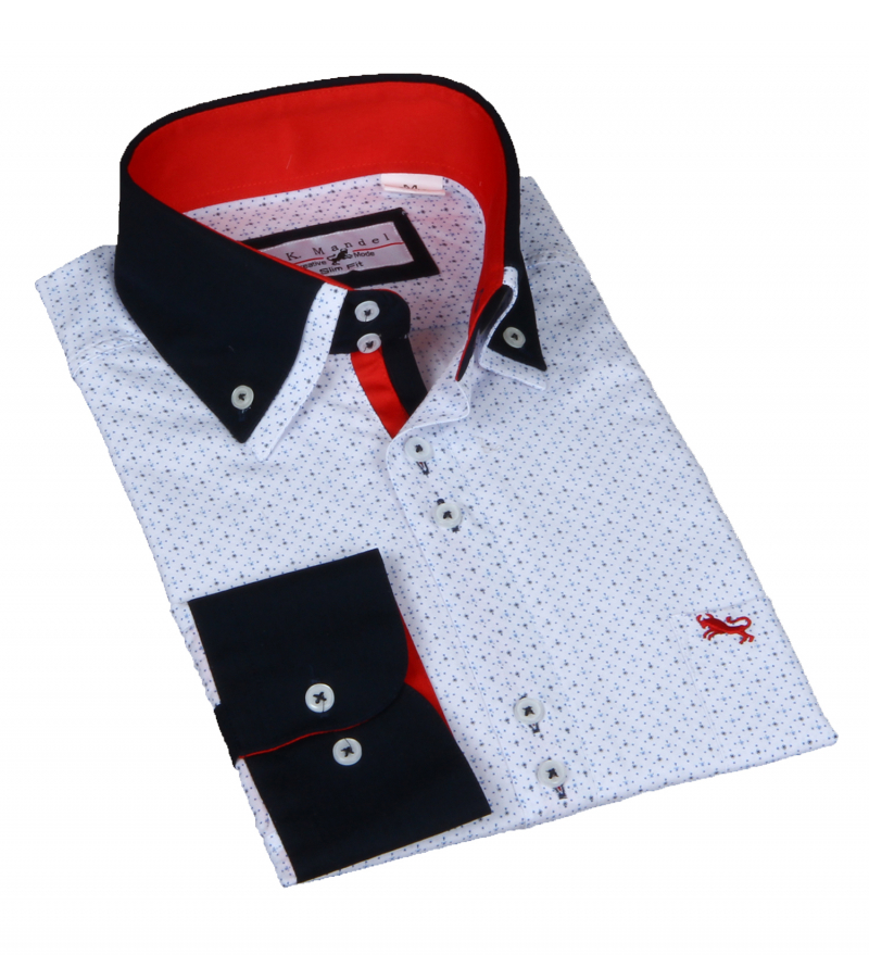 Doppelkragen Hemd Slim Fit. Weiß in sich gemustert