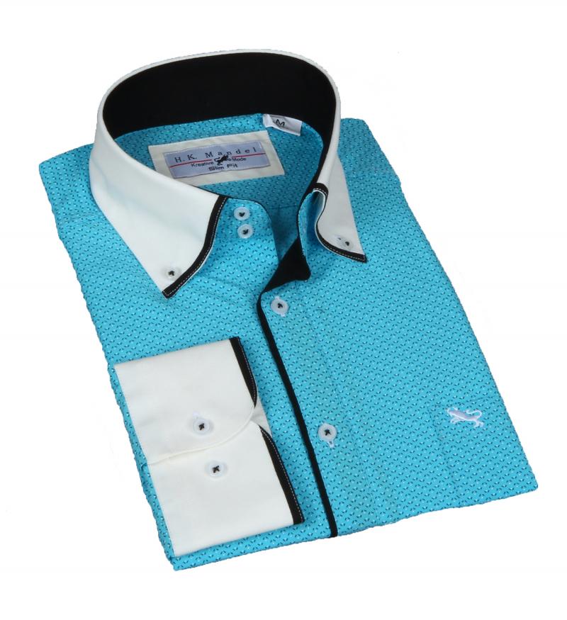 Slim Fit Freizeithemd-Button-Shirt in Türkisblau in sich gemustert