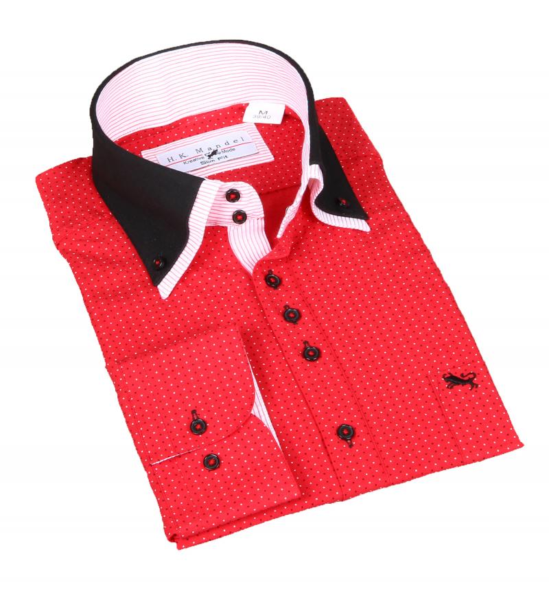 Besonderes Hemd mit Doppel kragen Slim Fit. Rot in sich gemustert