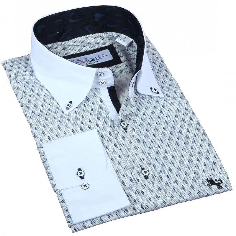 Slim Fit Freizeithemd Weiß in sich gemustert