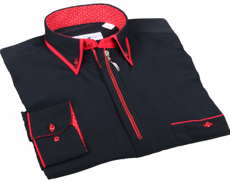 Hemd mit Reißverschluss in Schwarz