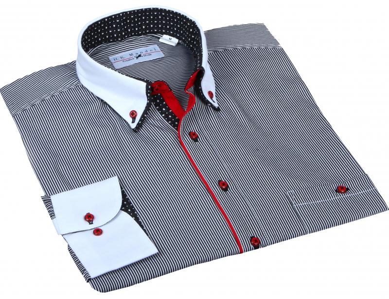 Designer Hemd Schwarz/weiß gestreift