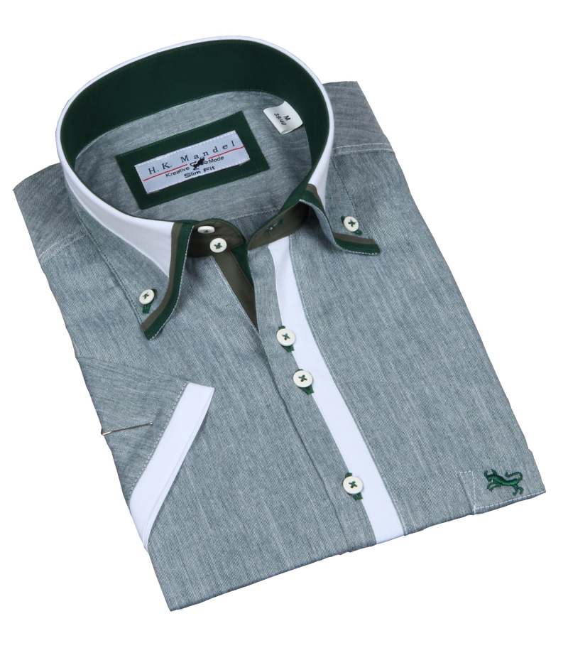 Slim Fit Hemd Mittelgrün  meliert Kurzarm Button Down Krage