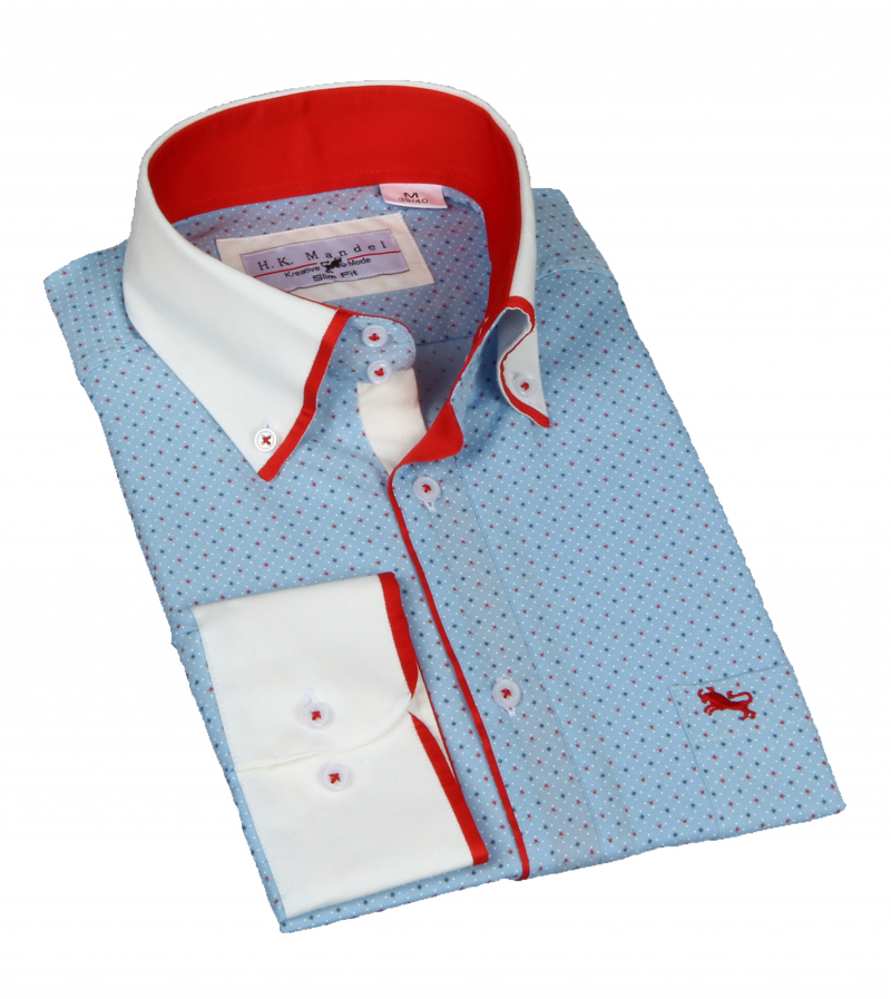 Slim Fit Freizeithemd-Button-Shirt in Hellblau in sich gemustert