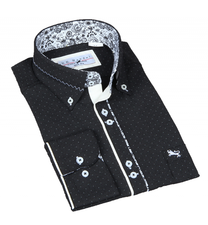 Slim Fit Freizeithemd-Button-Shirt in Schwarz in sich gemustert