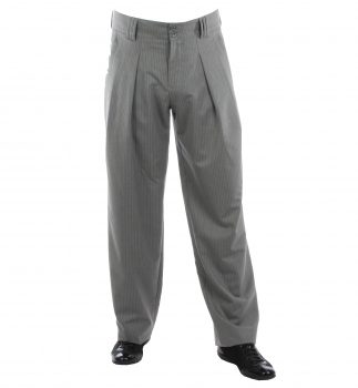 Bundfaltenhose in Grau gestreift Model Boogie