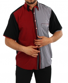 Striped Short-Sleeved Shirt in Black/red/white