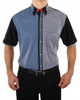 Short Sleeve Shirt in Black/white and Blue/white Striped