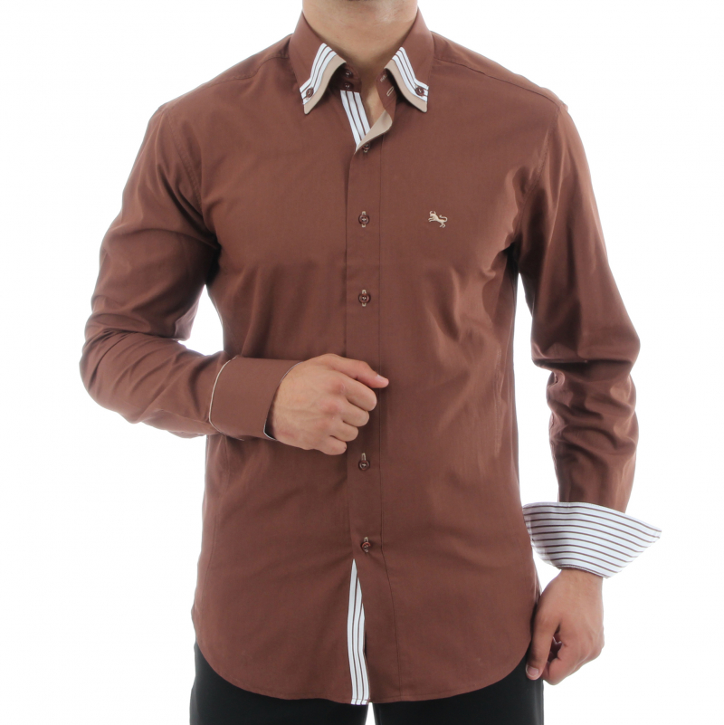 Slim Fit Shirt in Braun