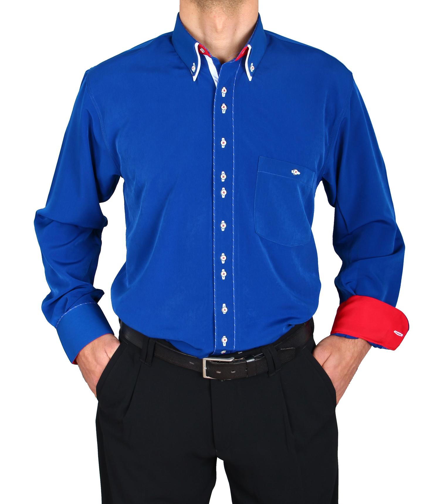 e82886f7e568 H.K. Mandel Kreative Mode für Männer - Besonderes Hemd Royalblau ...