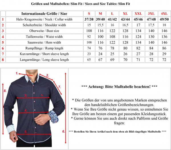 Masstabelle Slim Fit